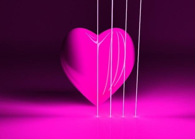 Muitas formas de coração de néon no espaço, pano de fundo abstrato gerado por computador, fundo de renderização 3d