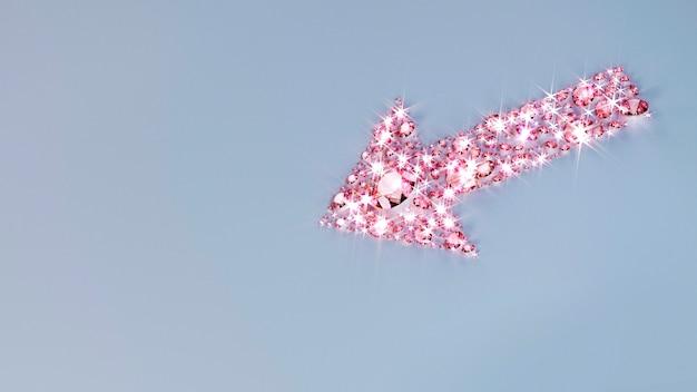 Muitas jóias espalhadas na superfície em forma de flecha. ilustração 3d