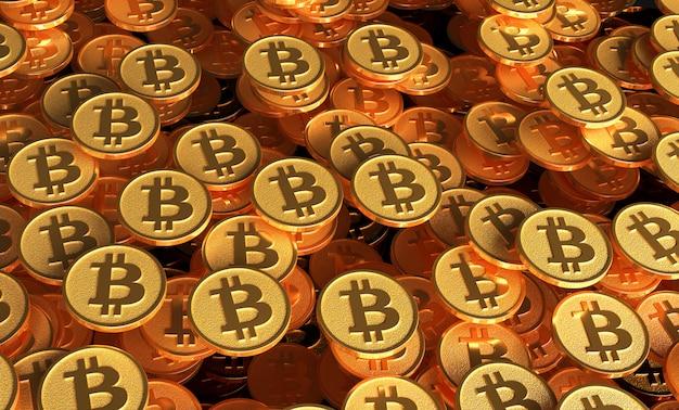 Muitas moedas com a imagem do sinal de btc. ilustração 3d