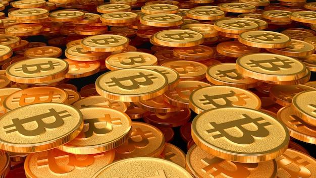 Muitas moedas com a imagem do sinal de btc