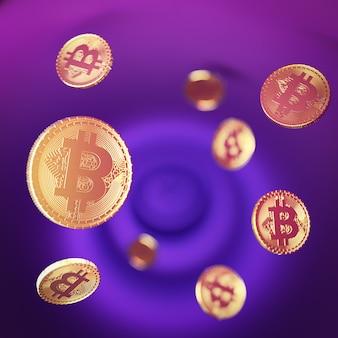 Muitas moedas de ouro bitcoin em fundo rosa roxo. imagem de renderização de ilustração 3d. imagem de foco seletivo.
