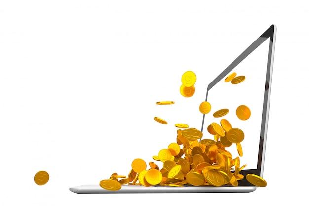 Muitas moedas de ouro derramando do laptop