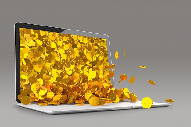 Muitas moedas de ouro derramando fora da renderização 3d do monitor do laptop
