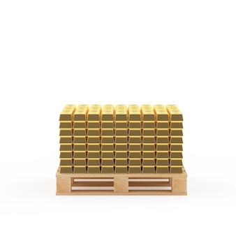 Muitas pilhas de barras de ouro em um palete de madeira