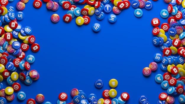 Muitas pílulas brilhantes de redes sociais multicoloridas em 3d sobre um azul