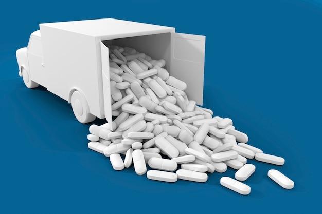 Muitas pílulas saindo do caminhão. a arte conceitual sobre o tema da entrega de medicamentos