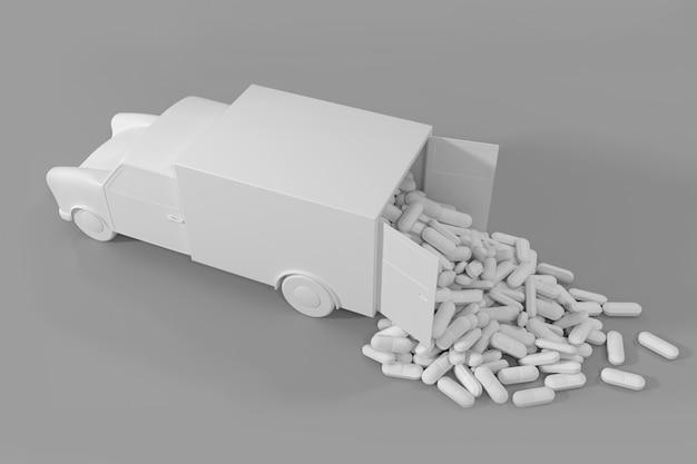 Muitas pílulas saindo do caminhão.