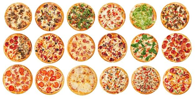Muitas pizzas sortidas isoladas com design de menu de colagem