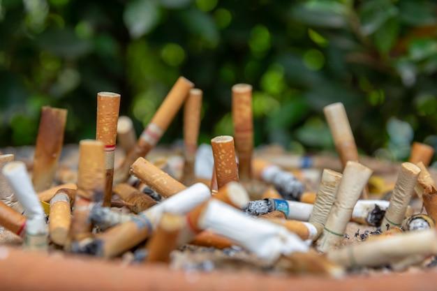 Muitas pontas de cigarro na área de fumar.