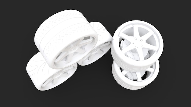 Muitas rodas de carros esportivos juntas. instalação de estilo mínimo. renderização 3d.