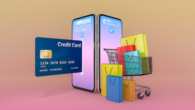 Muitas sacola de compras, etiqueta de preço e cartão de crédito em um carrinho de compras apareceram da tela do smartphone., compras online ou conceito shopaholic., ilustração 3d com traçado de recorte de objeto.