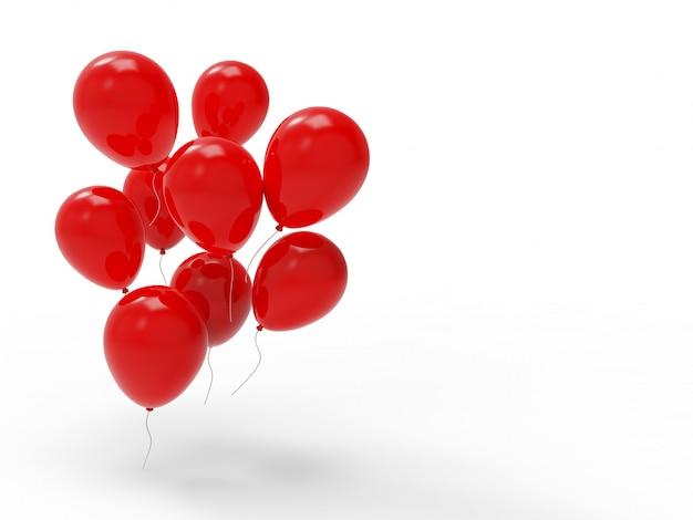 Muitos balões vermelhos whit espaço em branco