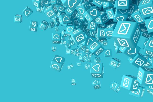 Muitos blocos caindo com fotos de ícones de redes sociais