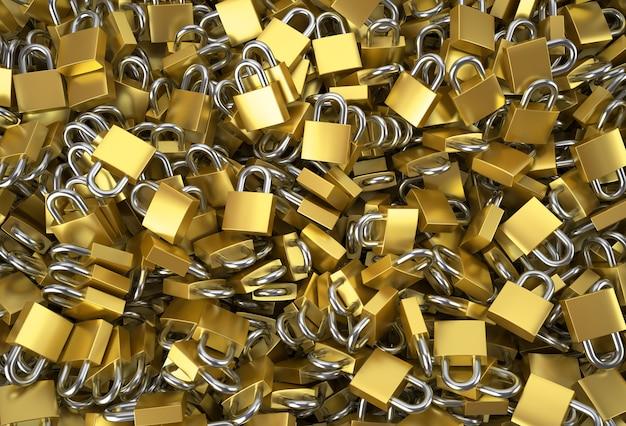 Muitos cadeado como um close up do fundo.