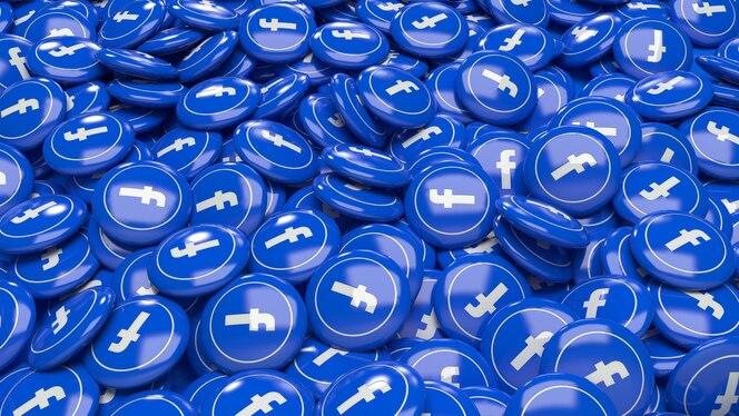 Muitos comprimidos 3d brilhantes do facebook em uma visão de perto