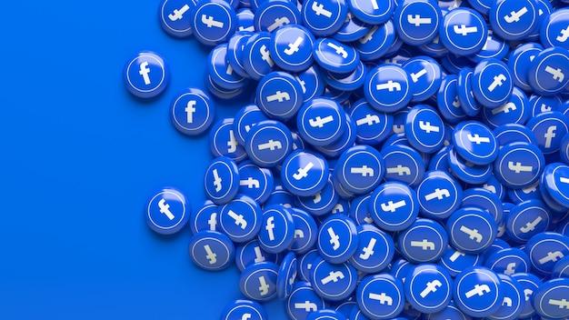 Muitos comprimidos 3d brilhantes do facebook sobre um azul