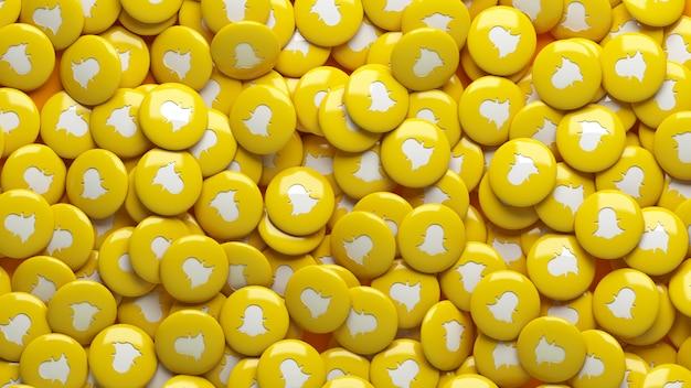 Muitos comprimidos 3d snapchat brilhantes em uma visão de perto