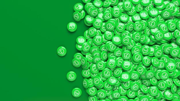 Muitos comprimidos 3d whatsapp verdes brilhantes em um fundo verde escuro