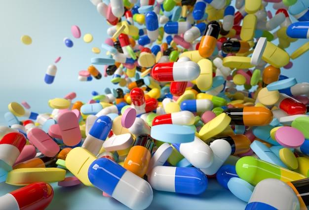 Muitos comprimidos coloridos e cápsulas caindo em branco. 3d render