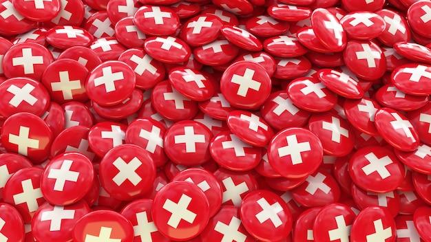 Muitos comprimidos com a bandeira suíça
