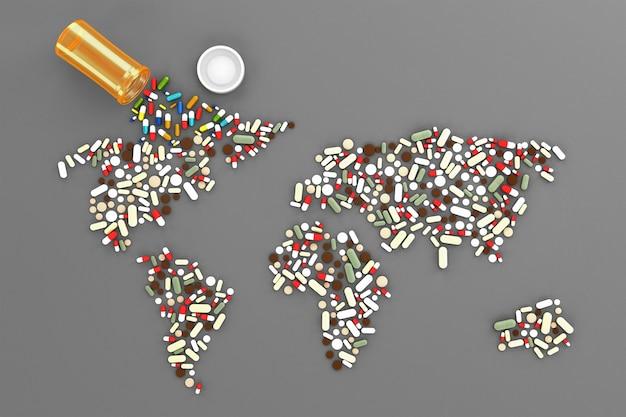 Muitos comprimidos espalhados na forma de uma silhueta dos continentes do mundo. ilustração 3d