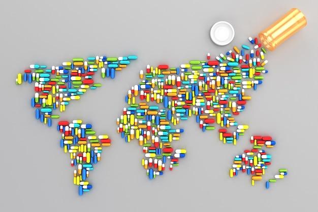 Muitos comprimidos espalhados na forma de uma silhueta dos continentes do mundo