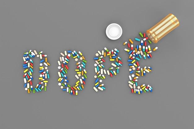 Muitos comprimidos espalhados sob a forma da palavra