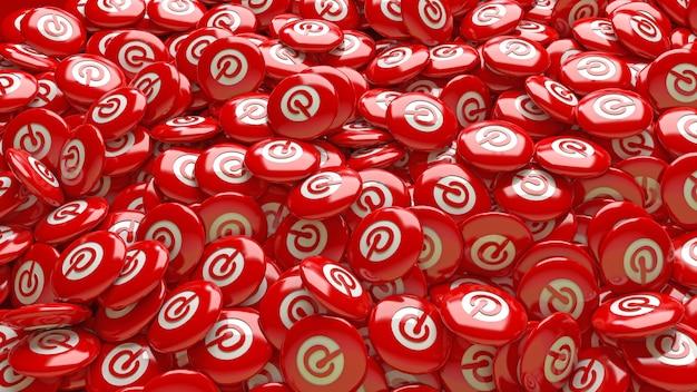 Muitos comprimidos vermelhos brilhantes 3d do pinterest em uma visualização de perto