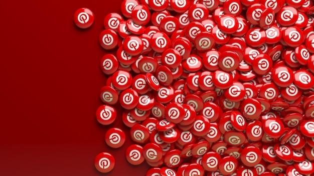 Muitos comprimidos vermelhos brilhantes do pinterest 3d em um fundo vermelho escuro