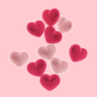 Muitos corações peludos e peludos voam no conceito de amor e dia dos namorados