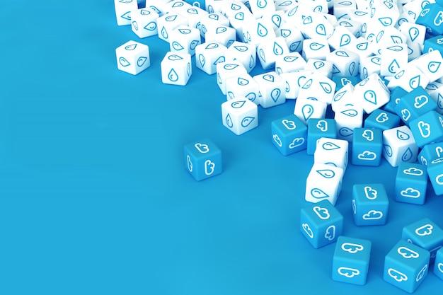 Muitos cubos com ícones de chuva espalhados em fundo azul