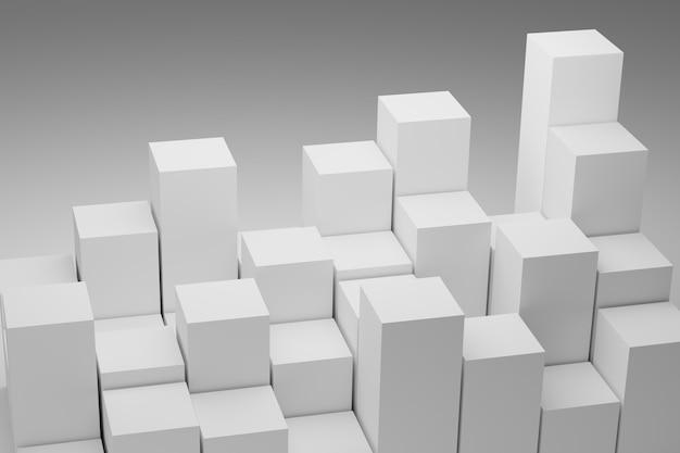 Muitos cubos em fundo branco. ilustração 3d