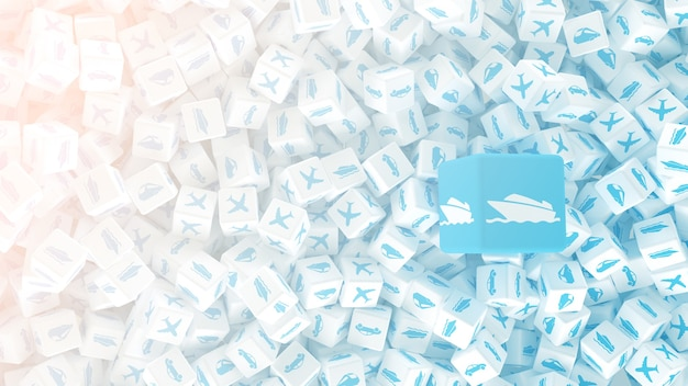 Muitos cubos espalhados com logotipos de diferentes tipos de transporte. ilustração 3d