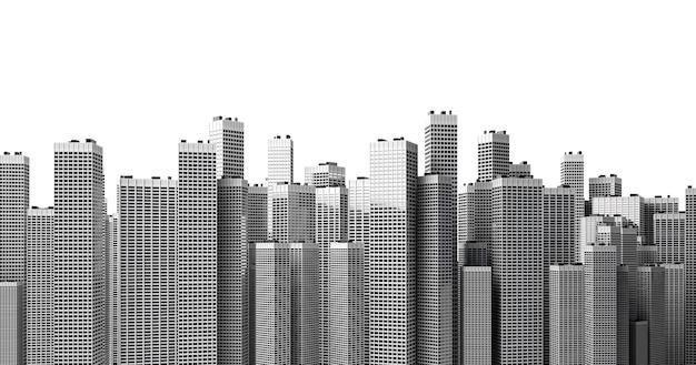 Muitos edifícios altos e modernos formando um bloco