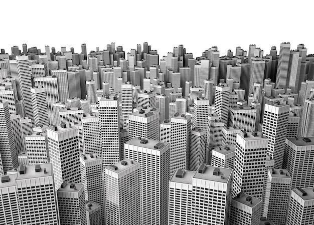 Muitos edifícios de escritórios modernos formando um bloco