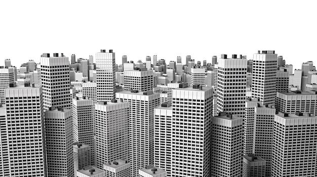 Muitos edifícios de escritórios modernos isolados no branco
