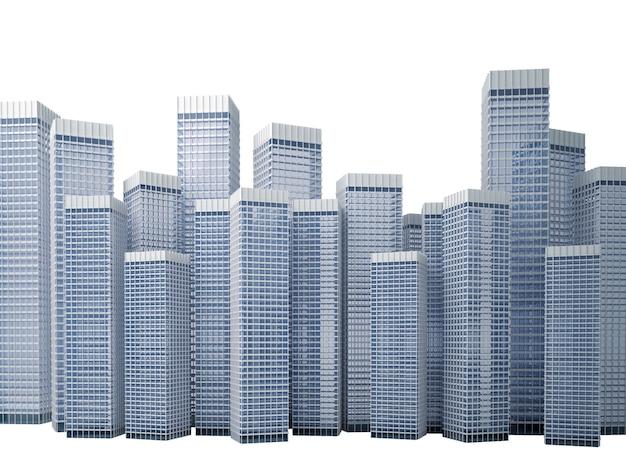Muitos edifícios modernos de escritórios altos formando um bloco