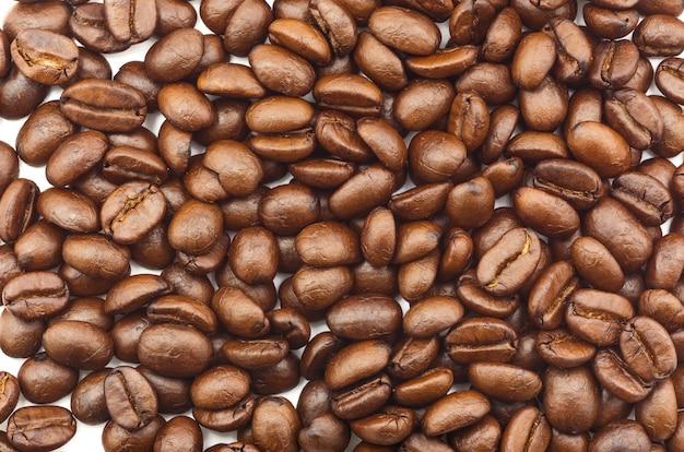 Muitos feijões de café marrons são espalhados em um fundo branco.