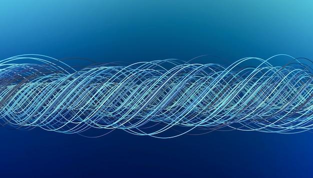 Muitos fios trançados de tons de azul em um fundo azul, ilustração 3d