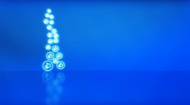 Muitos gostam de ícones em neon sobre fundo azul com espaço para texto. conceito de mídia social.