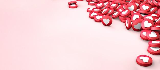 Muitos gostam de textura de corações em um fundo rosa. copie o espaço para o texto. 3d render
