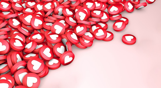 Muitos gostos fecham a textura dos corações em um fundo rosa. copie o espaço para o texto. 3d render