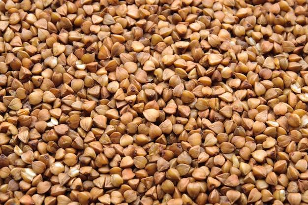 Muitos, grãos trigo mourisco, macro, cima, fundo