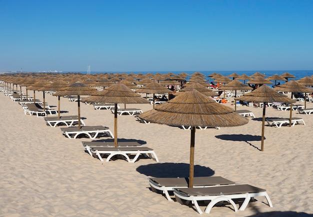 Muitos guarda-chuvas na praia com céu azul na ilha de tavira, portugal