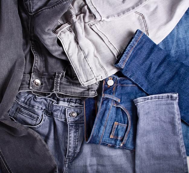 Muitos jeans diferentes - vista aérea de textura de jeans