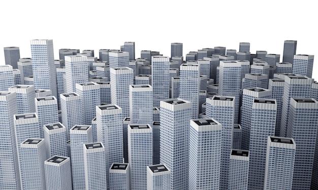 Muitos modernos edifícios de escritórios altos formando um bloco