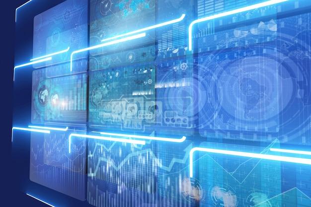 Muitos monitores de tela com gráficos e tabelas