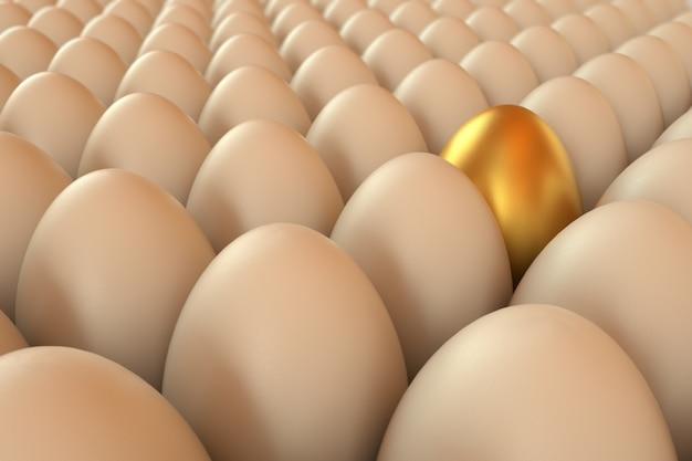 Muitos ovos renderizados um dourado. ovos de páscoa. ilustração de renderização 3d.