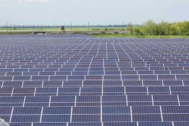 Muitos painéis solares em dia ensolarado