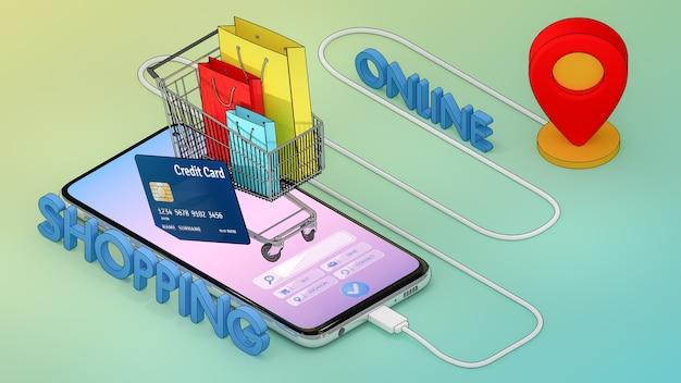 Muitos saco de papel, etiqueta de preço e cartão de crédito em um carrinho de compras com mapa digital móvel da cidade com ponteiros de alfinetes vermelhos.